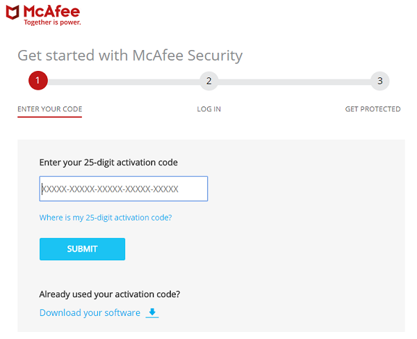 how to enter mcafee activation code